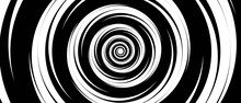 Grayscale Abstract Background. Design Of A Monochrome Tunnel. The Texture Of Circles Twisted In A Spiral, Hypnosis. Design Of A Banner, A Poster For A Website, A Frame For Social Networks. Vector