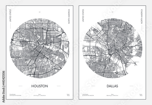 Obraz na plátně Travel poster, urban street plan city map Houston and Dallas, vector illustratio