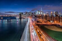 Manhattan Skyline With Car Traffic, New York City, USA