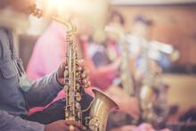 Saxophonist Playing Jazz Alto Sax Instrument