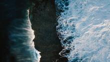 Powerful Sea Splashing Near Rocky Coast