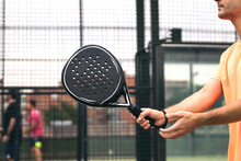 Man Hand With Paddle Tennis Racket Playing