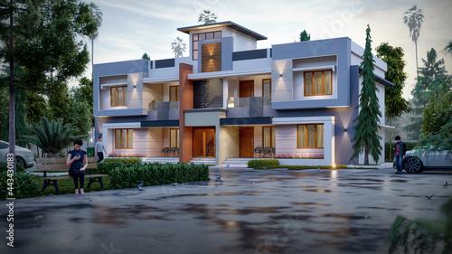 Canvastavla 3d illustration of a newly built luxury home