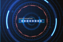 Abstract Digital Round Interface With Password Enter On Blue Background. Verification And Technology Concept. 3D Rendering.