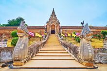 The Stairway, Naga Serpents And Mekong Arch Of Wat Phra That Lampang Luang Temple, Lampang, Thailand