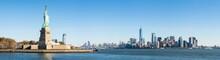 Liberty Island With Statue Of Liberty And Manhattan Skyline Panorama, New York City, USA