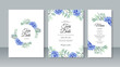 Wedding card invitation set template with flower watercolor painting