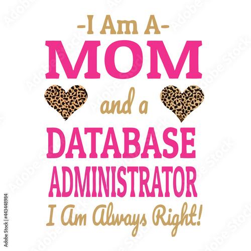 Canvas database administrator mom leopard print hearts sticker Design vector illustrati