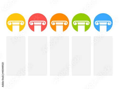 Vászonkép Five pillars icon chart