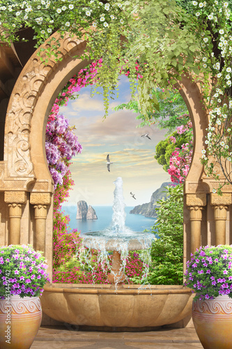 Murais de parede Eastern arch with bright flowers and sea view