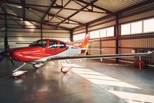 Modern Aircraft In Airport Parking Building Hangar