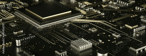 Fotografiet Modern electronic circuit board close up in gold 3d render