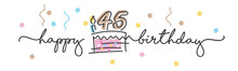 45th Birthday Handwritten Typography Lettering Greeting Card With Colorful Big Cake, Number, Candle And Confetti