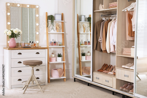 Tablou Canvas Elegant room with dressing table and wardrobe. Interior design