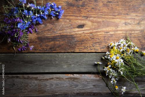 Kwiaty polne na tle desek niebieskie i białe