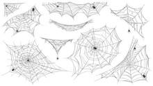 Spider Web Silhouette. Hanging Cobweb With Venom Spiders For Horror Helloween Decor. Spooky Spiderweb Element, Net Trap In Corner Vector Set