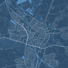 Detailed Map Of Utrecht City, Linear Print Map. Cityscape Panorama.