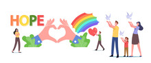 Hope, Love And Peace Concept. Tiny Male And Female Family Characters Let Go White Doves Flying In Air, Rainbow And Heart
