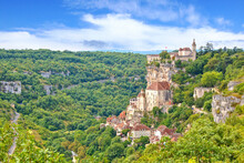 Overlooking The Famous Religious Landmarks Of The Clifftop Village Of Rocamadour, France