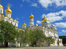 Cathedrals Of Moscow Kremlin On Sunny Summer Day. Russia
