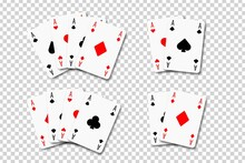 Vector Set Of Realistic Isolated Aces Playing Cards On The Transparent Background. Concept Of Poker And Casino.