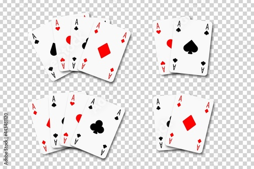 Canvas Vector set of realistic isolated Aces playing cards on the transparent background