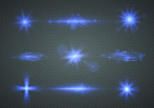 Neon Blue Sparkling Glitter And Bokeh Light Effect. Bright Particles, Burning Blue Stars, Lasers Isolated On Transparent Background. Flashes And Glares. Bright Rays Of Light. Vector Illustration.