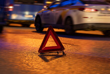 Emergency Stop Sign At Night, Car Breakdown, Car Stopping On The Edge Of The Road At Night