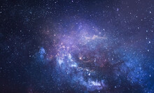 Night Starry Sky. Galaxies And Deep Space. Photo Collage From Earth. Elements Of This Image Furnished By NASA