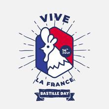Banner Illustration Of Bastille Day Celebration With Rooster French Icon. Viva La France Means Long Live France. Vector Illustration.