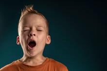 Portrait Of A Boy With Blond Hair Yawns. The Child Wants To Sleep. Kid Boy Yawns