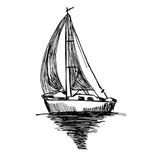 Vector Hand Drawn Sketch Illusration Of A Ship On The Water. Drawing.