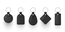 Realistic Black Leather Keychains With Metal Ring Vector Illustration. Set Of Holder Trinket To Key
