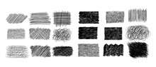 Ink Pen Scrawl Collection - Various Rectangular Shapes Of Hand Drawn Scribble Line Drawings.