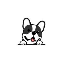 Cute French Bulldog Puppy Smiling Cartoon, Vector Illustration