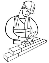 Happy Builder Holds A Laying Trowel And Lays Bricks. Professional Bricklayer In Hard Hat And High Visibility Vest Makes Wall. Male Worker Puts Brick On The Masonry.Vector Outline Illustration Drawings