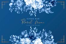 Classic Blue Floral Background Design Vector Illustration