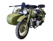 Soviet Military Motorcycle With A Machine Gun