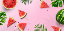 Summer Trendy Bright Watermelon Pattern Layout. Red Watermelon Slices, Tropical Leaves, Monstera Plants And Leaf Shadows On Pink Background, Flat Lay, Top View