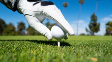 Hand In Golf Gloves Putting Golf Ball On Tee In Golf Course. Golf Ball Is On Tee On Green Grass Background.