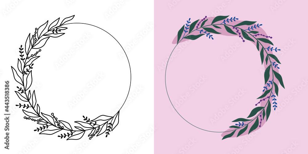 Obraz Ramki z wzorem roślinnym w nowoczesnym stylu z listkami i kwiatami - romantyczny, kobiecy wzór na zaproszenia ślubne, życzenia urodzinowe, kartki, tło dla social media stories. Ilustracja wektorowa. fototapeta, plakat