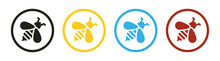 Bumble Bee Or Honey Bee Icon Vector Illustration.