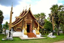 Lai Kham Chapel Have A Lot Of Genuine Gold Leaf. Located In Sri Don Chai Temple, Which Is The First Temple Of Pai Town In Mae Hong Son Province, THAILAND.