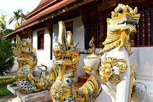 Lanna Art Sculpture At Sri Don Chai Temple, Which Is The First Temple Of Pai Town In Mae Hong Son Province, THAILAND.