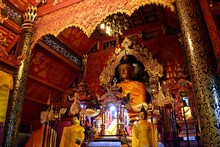 Inside The Chapel Of The Sri Don Chai Temple, Which Is The First Temple Of Pai, Mae Hong Son Province, THAILAND. Interior Is Decorated With Old Wood And Gold.