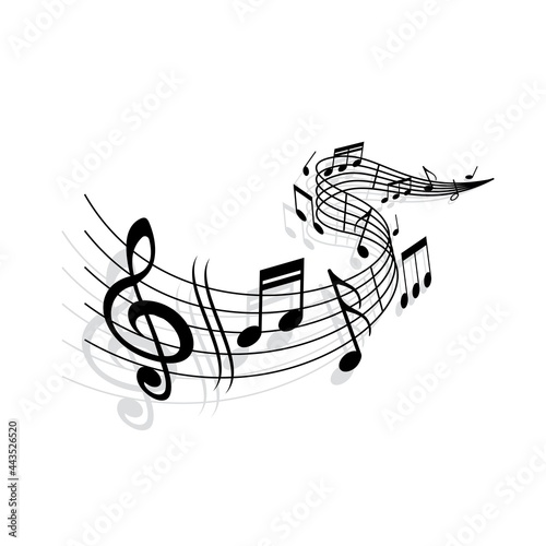 Fotografie, Obraz Music wave, vector musical notes and treble clef signs on curvy stave