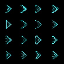HUD Futuristic Arrows And Navigation Pointers Vector Interface. Sci Fi And Cyberpunk Games. Blue Neon Light Arrow Cursors, Next Signs And Right Movement Direction Pointers Design Of Game Ui Or Gui