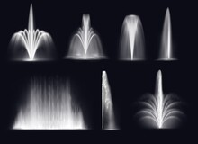 Spouting Fountains Jets Or Water Geysers Eruptions Splashes. Realistic Vector Park Or Garden, Illuminated And Glowing In Darkness Fountains High Sprays, Water Jets And Wall Streams Set