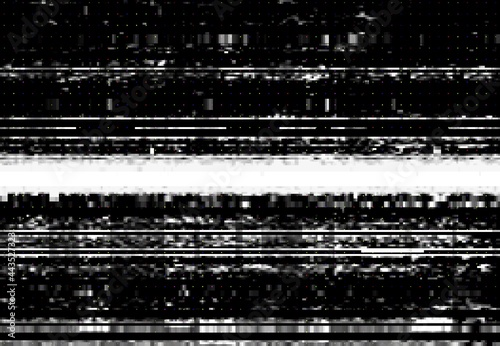 Fotografia, Obraz Screen with VHS video glitch effect, wide distortion line and digital pixel noise