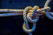 Ship Rope Knot In Water.